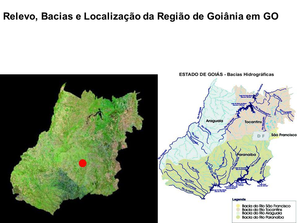 Relevo, Bacias e Localização da Região de Goiânia em GO