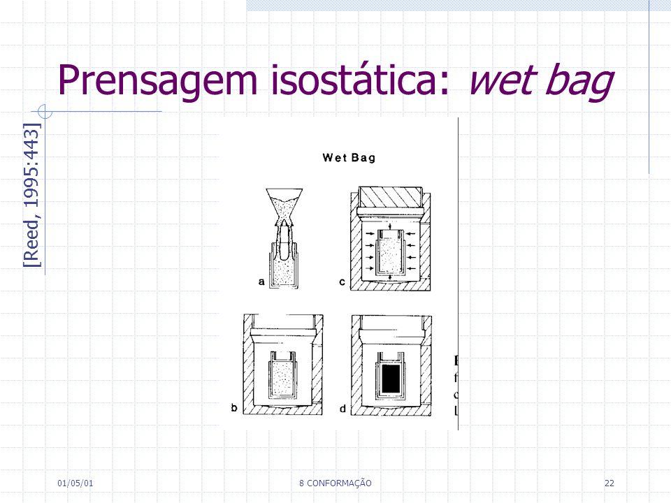 01/05/018 CONFORMAÇÃO22 Prensagem isostática: wet bag [Reed, 1995:443]