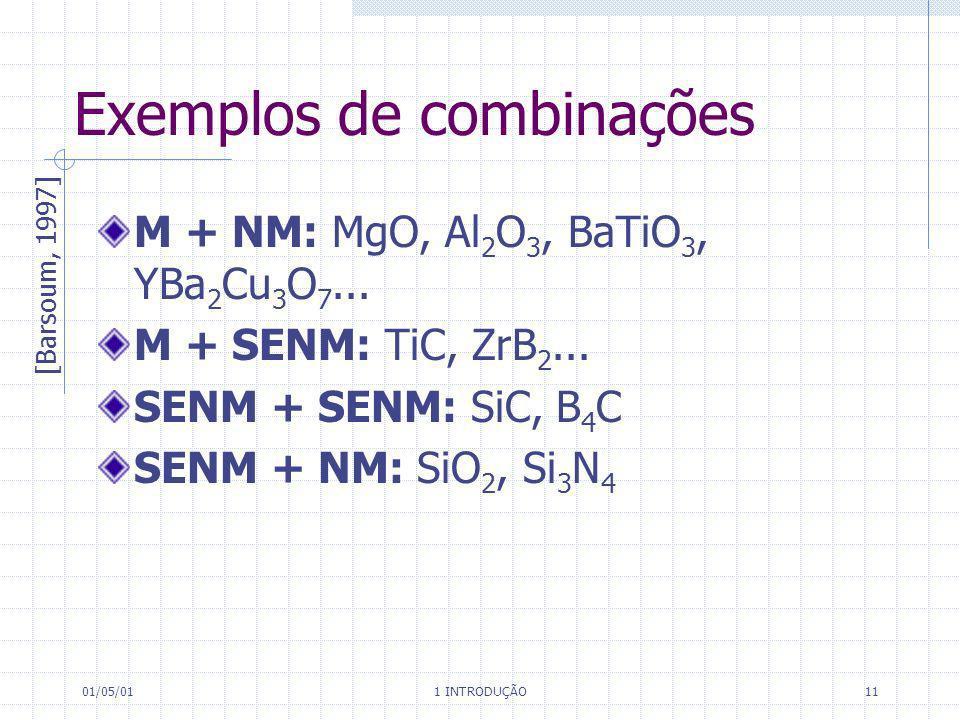 01/05/01 1 INTRODUÇÃO 11 Exemplos de combinações M + NM: MgO, Al 2 O 3, BaTiO 3, YBa 2 Cu 3 O 7... M + SENM: TiC, ZrB 2... SENM + SENM: SiC, B 4 C SEN