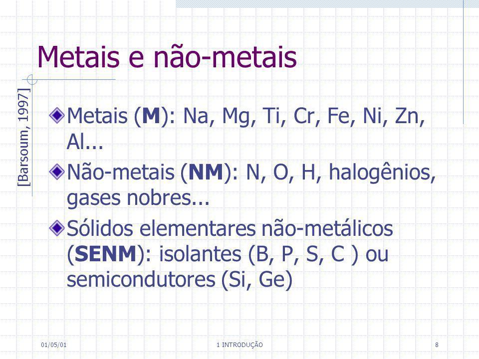 01/05/01 1 INTRODUÇÃO 8 Metais e não-metais Metais (M): Na, Mg, Ti, Cr, Fe, Ni, Zn, Al... Não-metais (NM): N, O, H, halogênios, gases nobres... Sólido