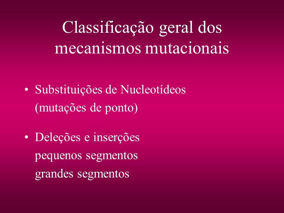 Classificação geral dos mecanismos mutacionais Substituições de Nucleotídeos (mutações de ponto) Deleções e inserções pequenos segmentos grandes segme
