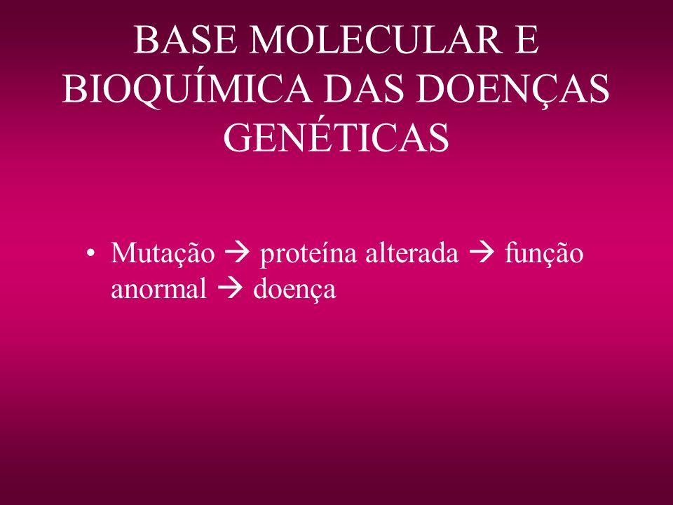 BASE MOLECULAR E BIOQUÍMICA DAS DOENÇAS GENÉTICAS Mutação proteína alterada função anormal doença