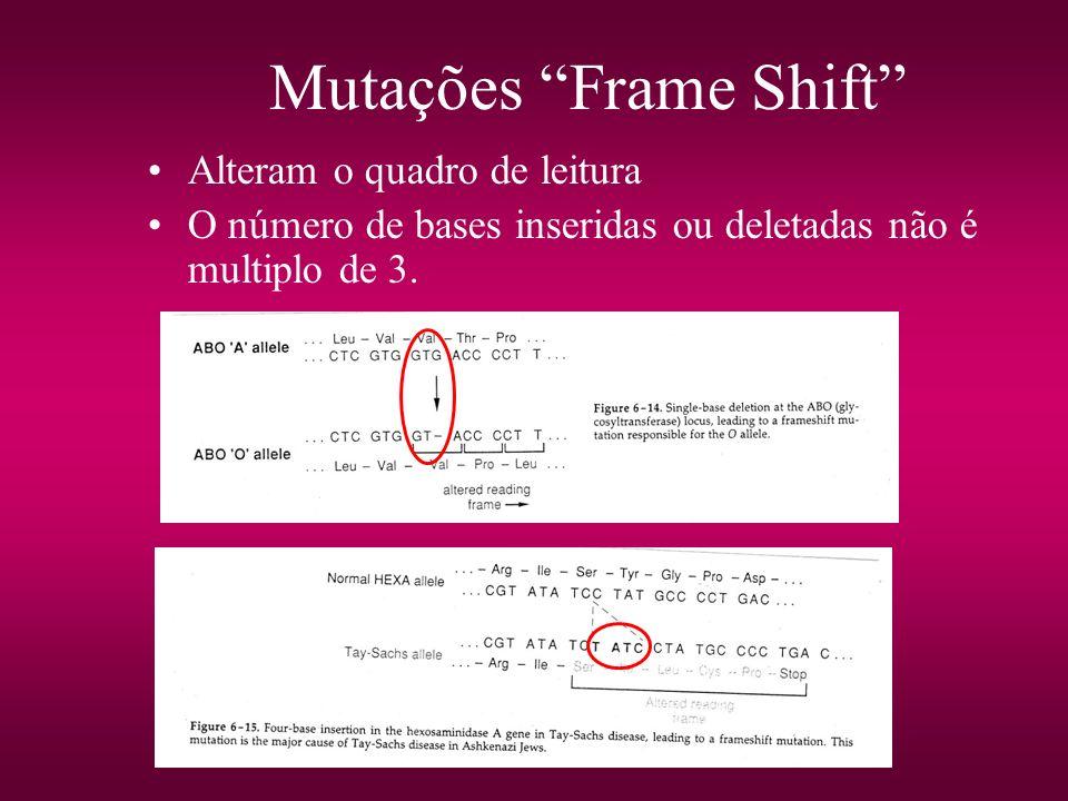 Mutações Frame Shift Alteram o quadro de leitura O número de bases inseridas ou deletadas não é multiplo de 3.