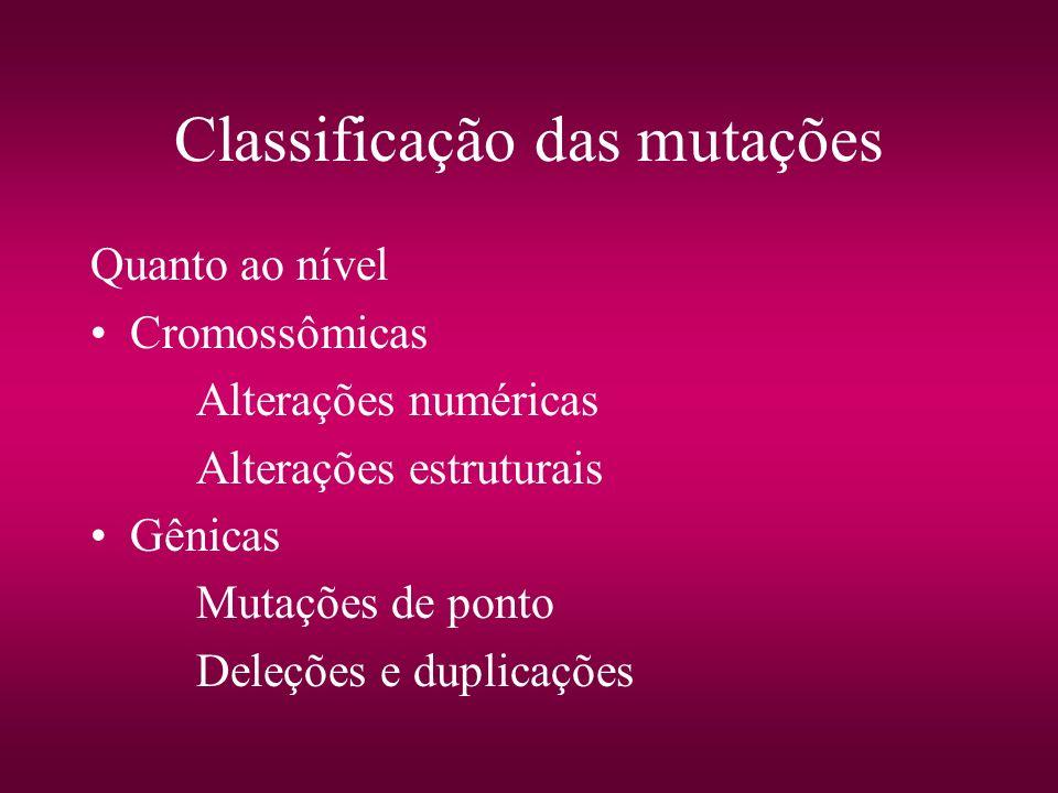 Classificação das mutações Quanto ao nível Cromossômicas Alterações numéricas Alterações estruturais Gênicas Mutações de ponto Deleções e duplicações