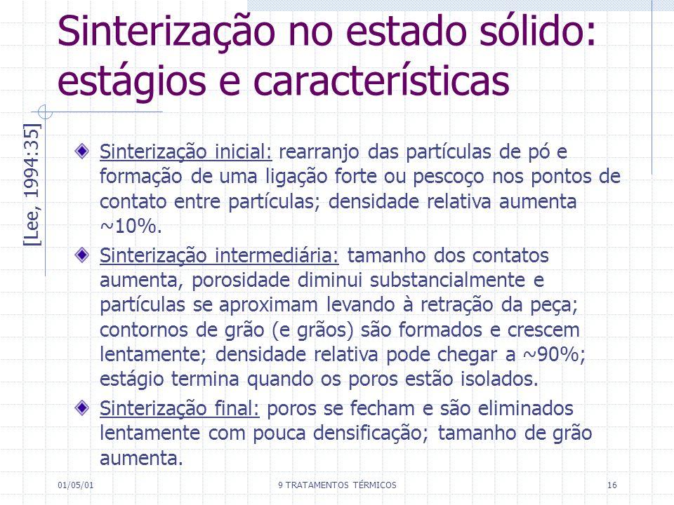 01/05/019 TRATAMENTOS TÉRMICOS16 Sinterização no estado sólido: estágios e características [Lee, 1994:35] Sinterização inicial: rearranjo das partícul