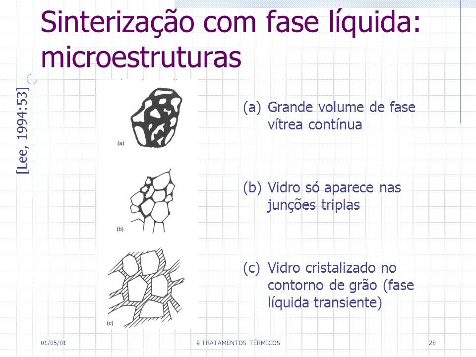 01/05/019 TRATAMENTOS TÉRMICOS28 Sinterização com fase líquida: microestruturas [Lee, 1994:53] (a) Grande volume de fase vítrea contínua (b) Vidro só