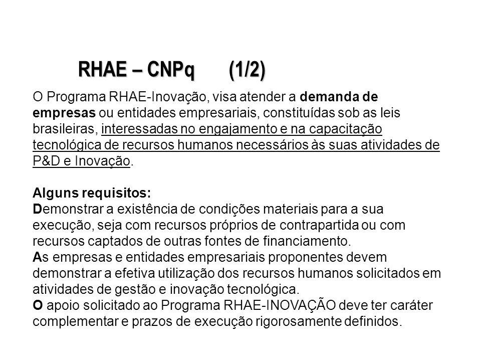 O Programa RHAE-Inovação, visa atender a demanda de empresas ou entidades empresariais, constituídas sob as leis brasileiras, interessadas no engajamento e na capacitação tecnológica de recursos humanos necessários às suas atividades de P&D e Inovação.