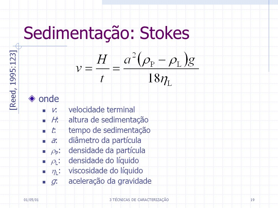 01/05/013 TÉCNICAS DE CARACTERIZAÇÃO19 onde v:velocidade terminal H:altura de sedimentação t: tempo de sedimentação a: diâmetro da partícula P :densidade da partícula L :densidade do líquido L :viscosidade do líquido g: aceleração da gravidade [Reed, 1995:123] Sedimentação: Stokes