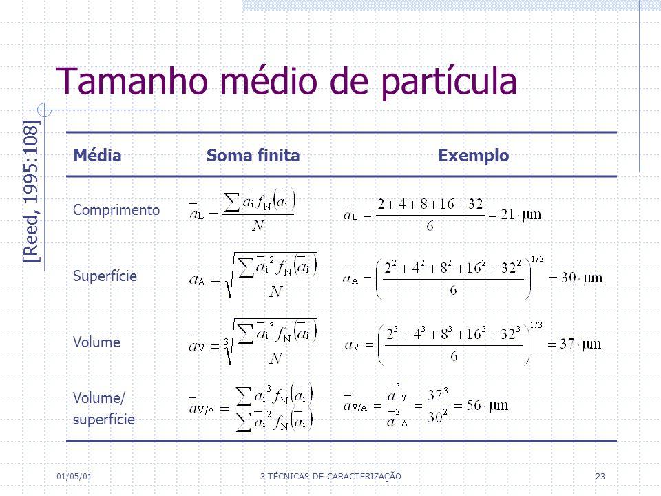 01/05/013 TÉCNICAS DE CARACTERIZAÇÃO23 Tamanho médio de partícula [Reed, 1995:108] MédiaSoma finitaExemplo Comprimento Superfície Volume Volume/ superfície