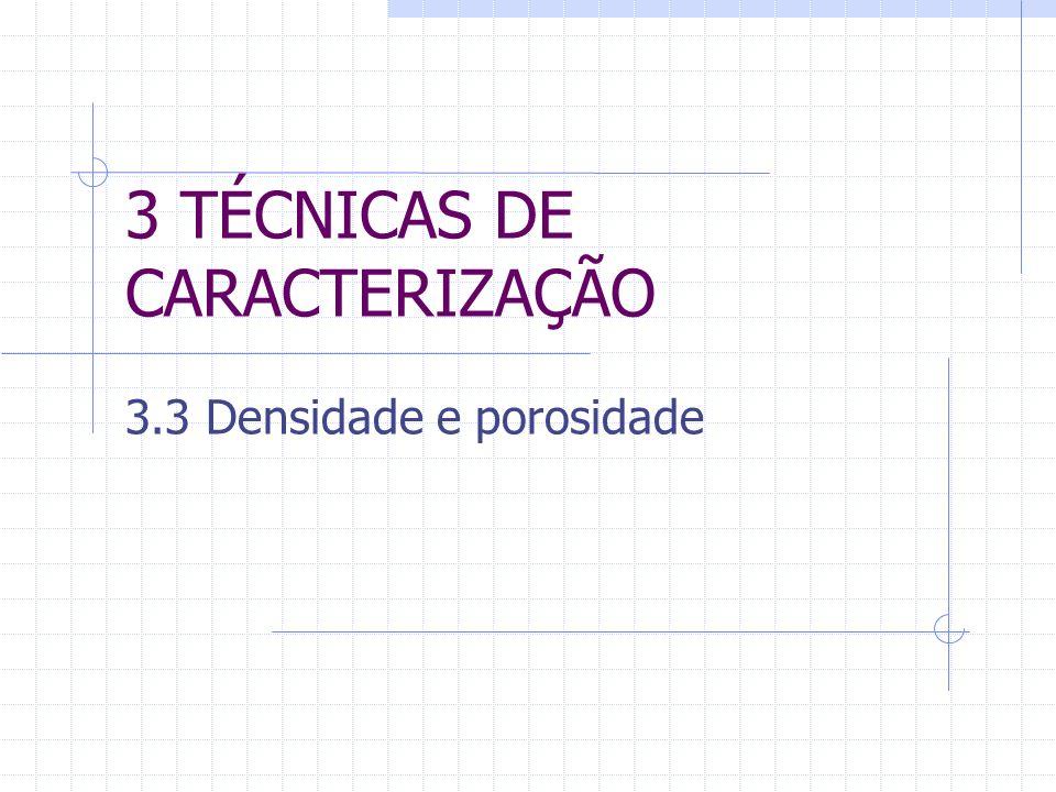 3 TÉCNICAS DE CARACTERIZAÇÃO 3.3 Densidade e porosidade
