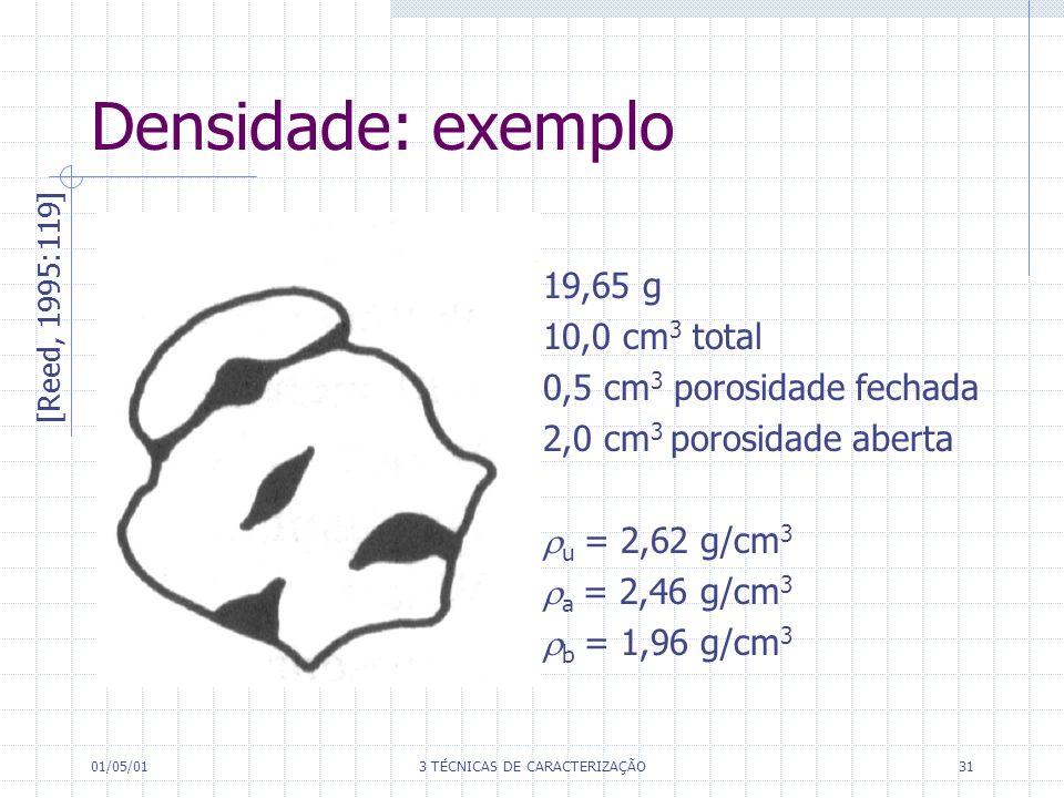 01/05/013 TÉCNICAS DE CARACTERIZAÇÃO31 Densidade: exemplo 19,65 g 10,0 cm 3 total 0,5 cm 3 porosidade fechada 2,0 cm 3 porosidade aberta u = 2,62 g/cm 3 a = 2,46 g/cm 3 b = 1,96 g/cm 3 [Reed, 1995:119]