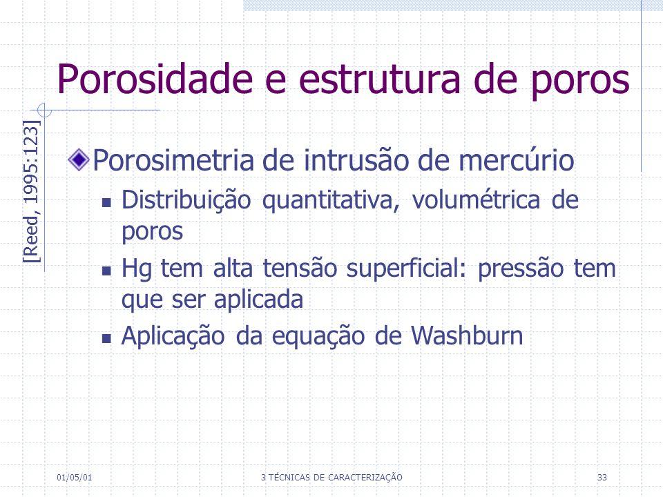 01/05/013 TÉCNICAS DE CARACTERIZAÇÃO33 Porosidade e estrutura de poros [Reed, 1995:123] Porosimetria de intrusão de mercúrio Distribuição quantitativa, volumétrica de poros Hg tem alta tensão superficial: pressão tem que ser aplicada Aplicação da equação de Washburn
