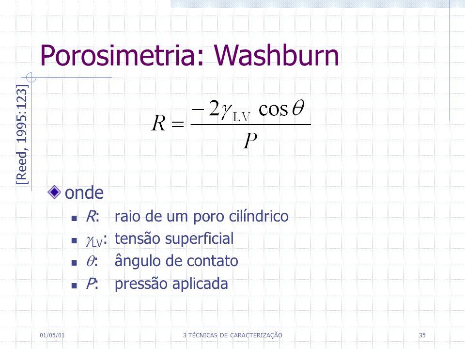 01/05/013 TÉCNICAS DE CARACTERIZAÇÃO35 onde R:raio de um poro cilíndrico LV :tensão superficial : ângulo de contato P: pressão aplicada Porosimetria: Washburn [Reed, 1995:123]