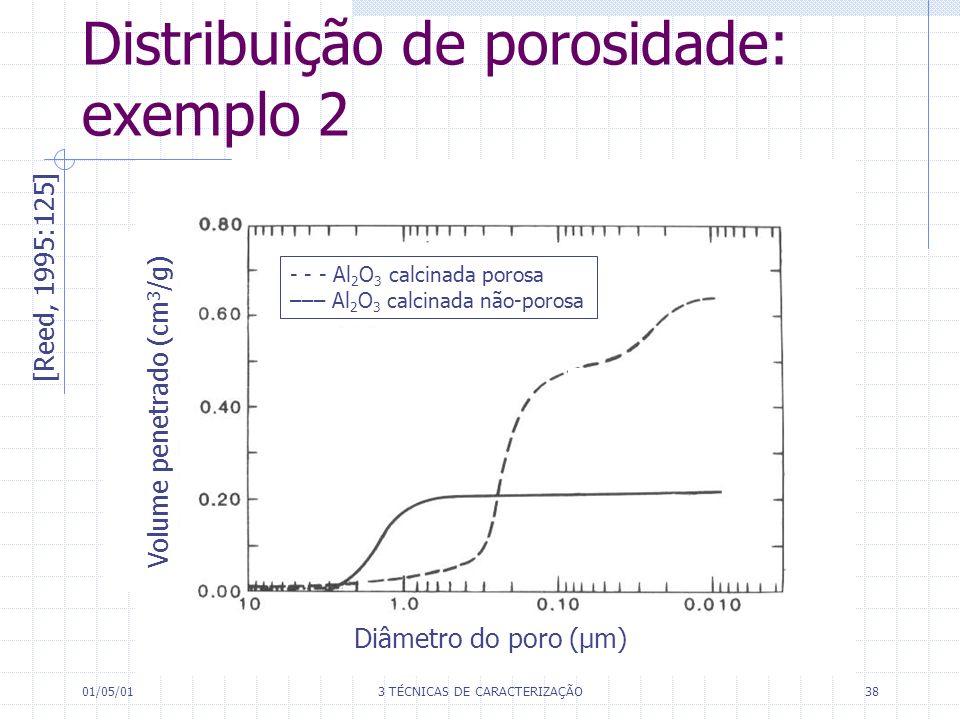01/05/013 TÉCNICAS DE CARACTERIZAÇÃO38 Distribuição de porosidade: exemplo 2 [Reed, 1995:125] Volume penetrado (cm 3 /g) Diâmetro do poro (µm) - - - Al 2 O 3 calcinada porosa ––– Al 2 O 3 calcinada não-porosa
