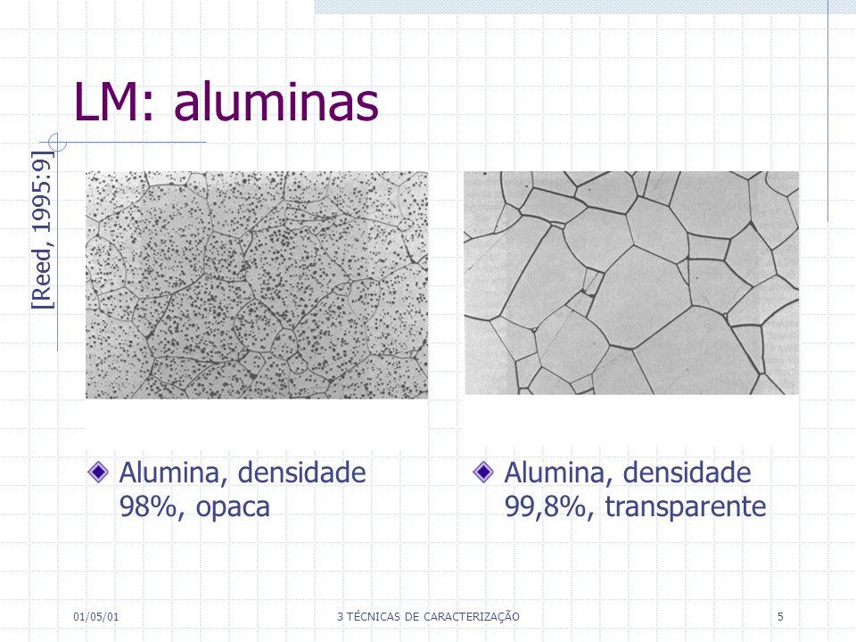 01/05/013 TÉCNICAS DE CARACTERIZAÇÃO5 LM: aluminas [Reed, 1995:9] Alumina, densidade 98%, opaca Alumina, densidade 99,8%, transparente