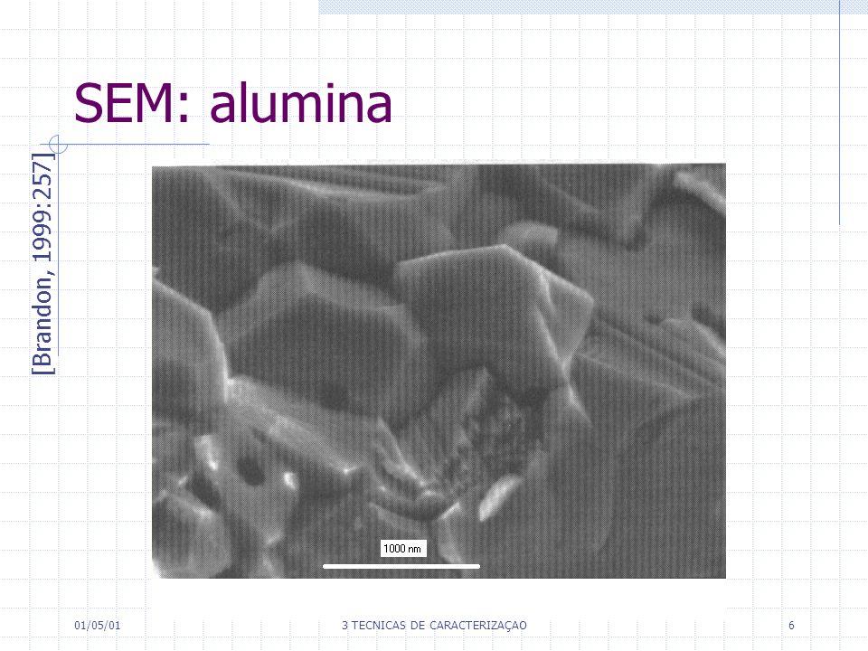 01/05/013 TÉCNICAS DE CARACTERIZAÇÃO6 SEM: alumina [Brandon, 1999:257]