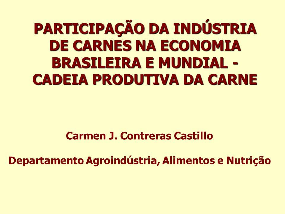 PARTICIPAÇÃO DA INDÚSTRIA DE CARNES NA ECONOMIA BRASILEIRA E MUNDIAL - CADEIA PRODUTIVA DA CARNE Carmen J. Contreras Castillo Departamento Agroindústr