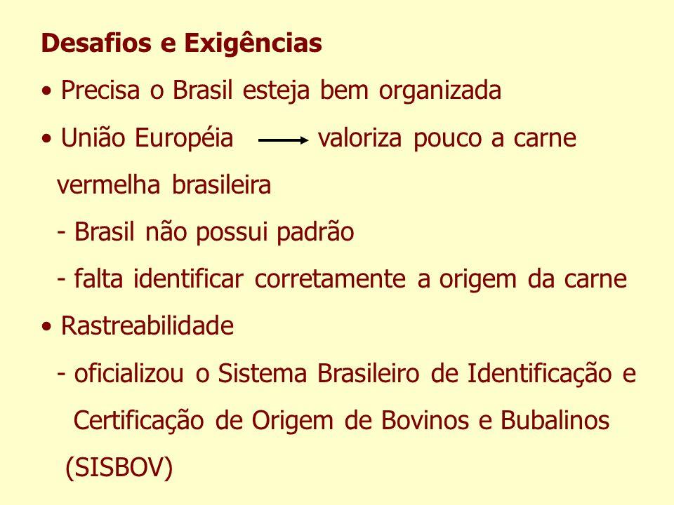 Desafios e Exigências Precisa o Brasil esteja bem organizada União Européia valoriza pouco a carne vermelha brasileira - Brasil não possui padrão - fa