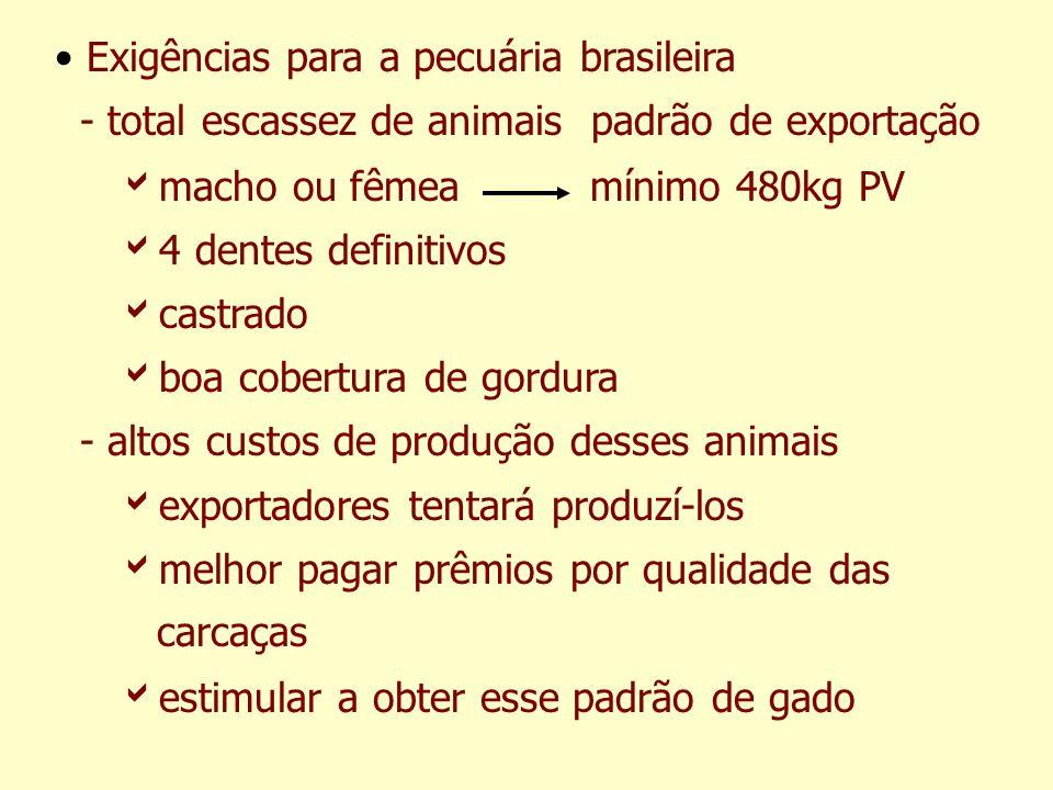 Exigências para a pecuária brasileira - total escassez de animais padrão de exportação macho ou fêmea mínimo 480kg PV 4 dentes definitivos castrado bo