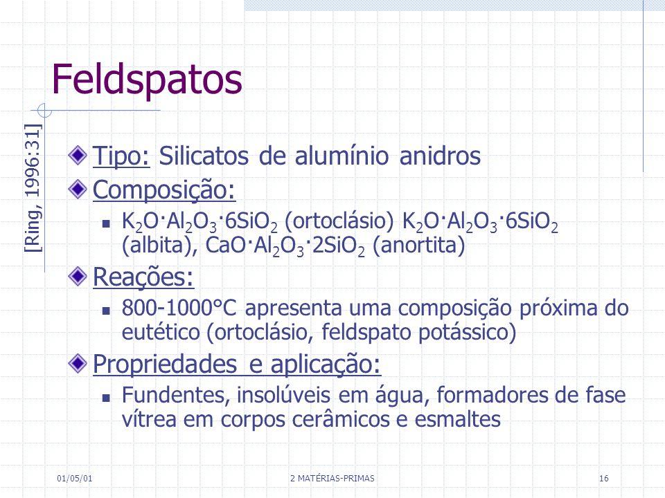 01/05/01 2 MATÉRIAS-PRIMAS 16 Feldspatos Tipo: Silicatos de alumínio anidros Composição: K 2 O·Al 2 O 3 ·6SiO 2 (ortoclásio) K 2 O·Al 2 O 3 ·6SiO 2 (a