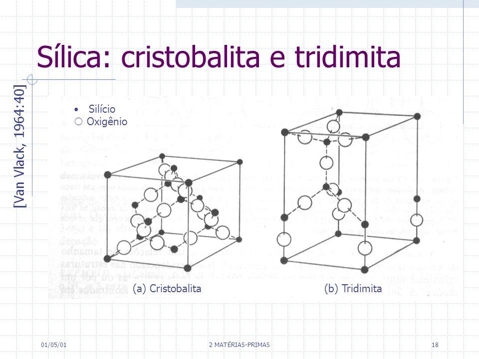 01/05/01 2 MATÉRIAS-PRIMAS 18 Sílica: cristobalita e tridimita [Van Vlack, 1964:40] Silício Oxigênio (a) Cristobalita (b) Tridimita