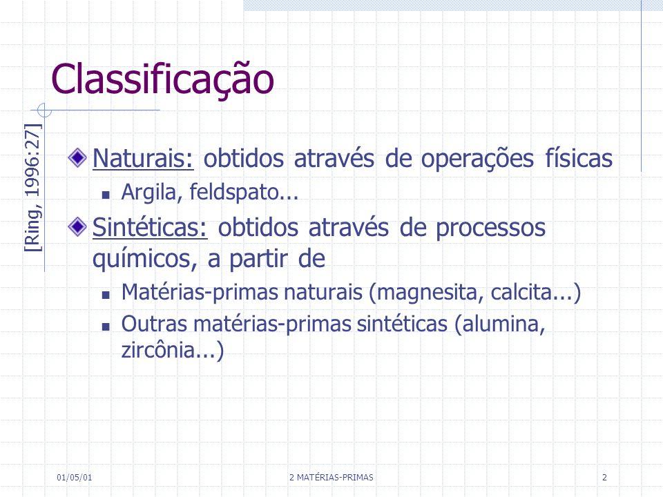 01/05/01 2 MATÉRIAS-PRIMAS 2 Classificação Naturais: obtidos através de operações físicas Argila, feldspato... Sintéticas: obtidos através de processo