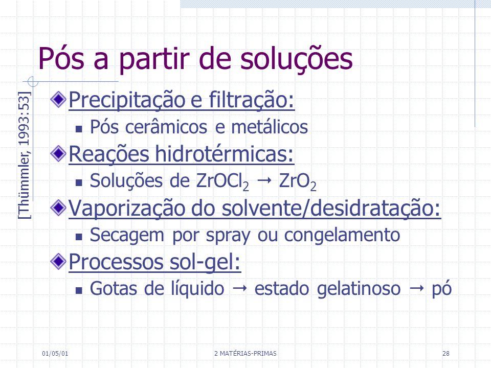 01/05/01 2 MATÉRIAS-PRIMAS 28 Pós a partir de soluções Precipitação e filtração: Pós cerâmicos e metálicos Reações hidrotérmicas: Soluções de ZrOCl 2