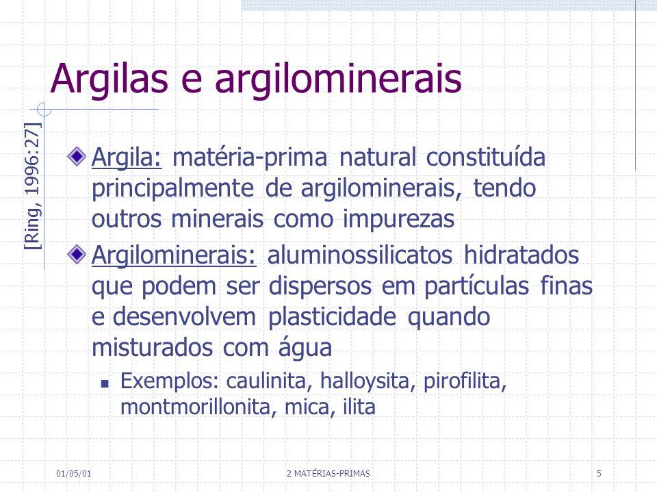 01/05/01 2 MATÉRIAS-PRIMAS 5 Argilas e argilominerais Argila: matéria-prima natural constituída principalmente de argilominerais, tendo outros minerai