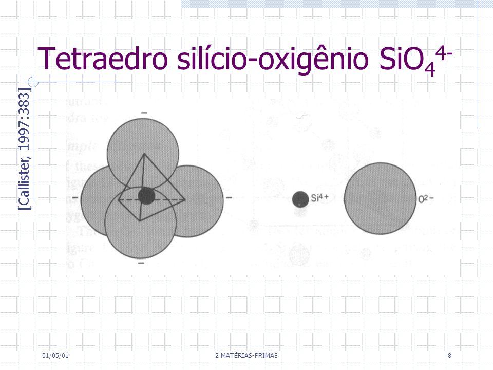01/05/01 2 MATÉRIAS-PRIMAS 8 Tetraedro silício-oxigênio SiO 4 4- [Callister, 1997:383]