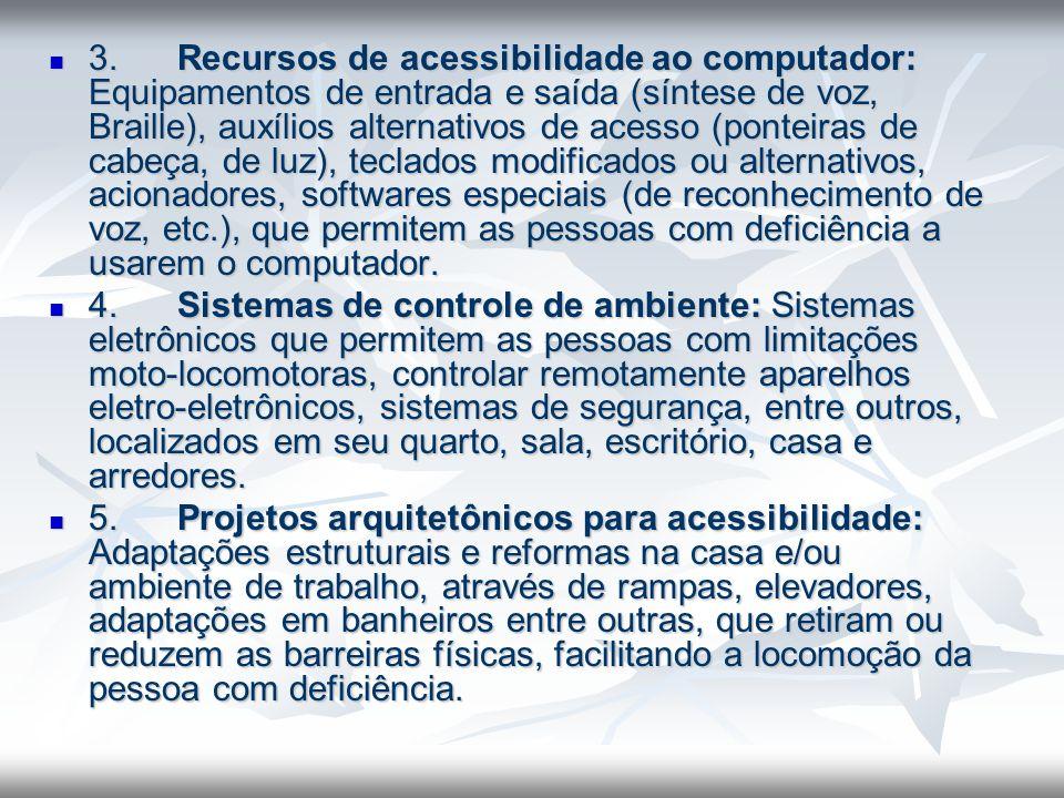 3. Recursos de acessibilidade ao computador: Equipamentos de entrada e saída (síntese de voz, Braille), auxílios alternativos de acesso (ponteiras de