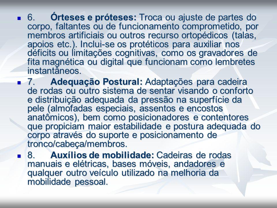 6. Órteses e próteses: Troca ou ajuste de partes do corpo, faltantes ou de funcionamento comprometido, por membros artificiais ou outros recurso ortop
