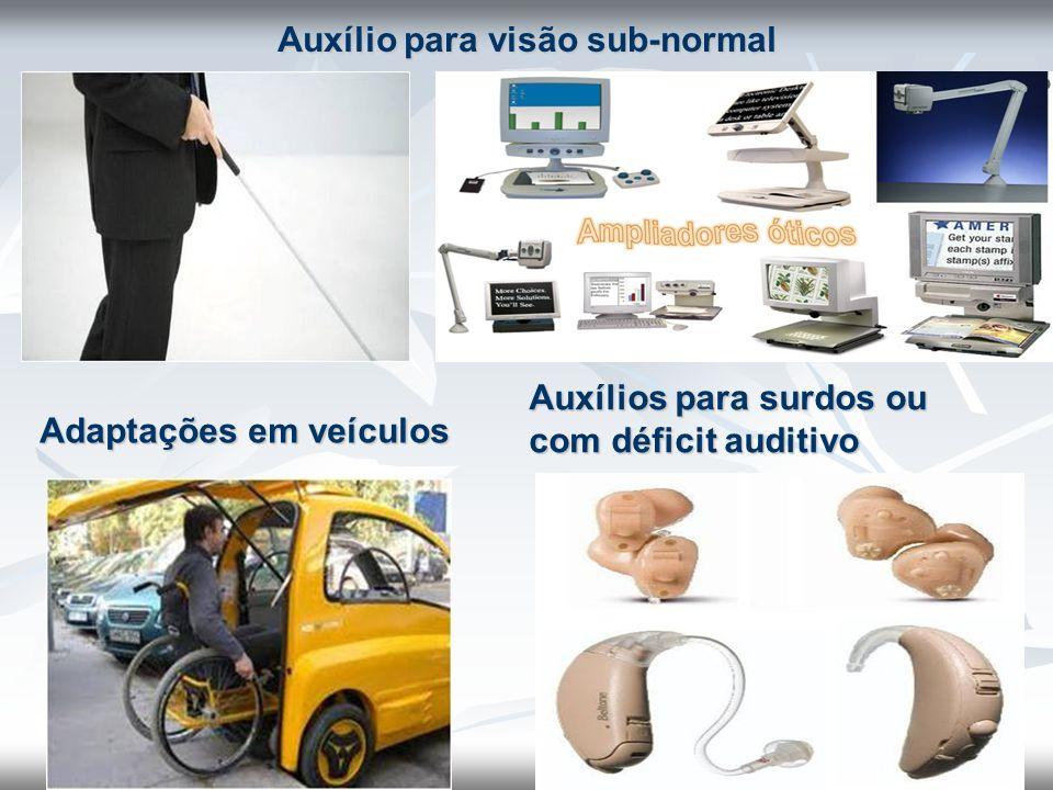 Auxílio para visão sub-normal Adaptações em veículos Auxílios para surdos ou com déficit auditivo