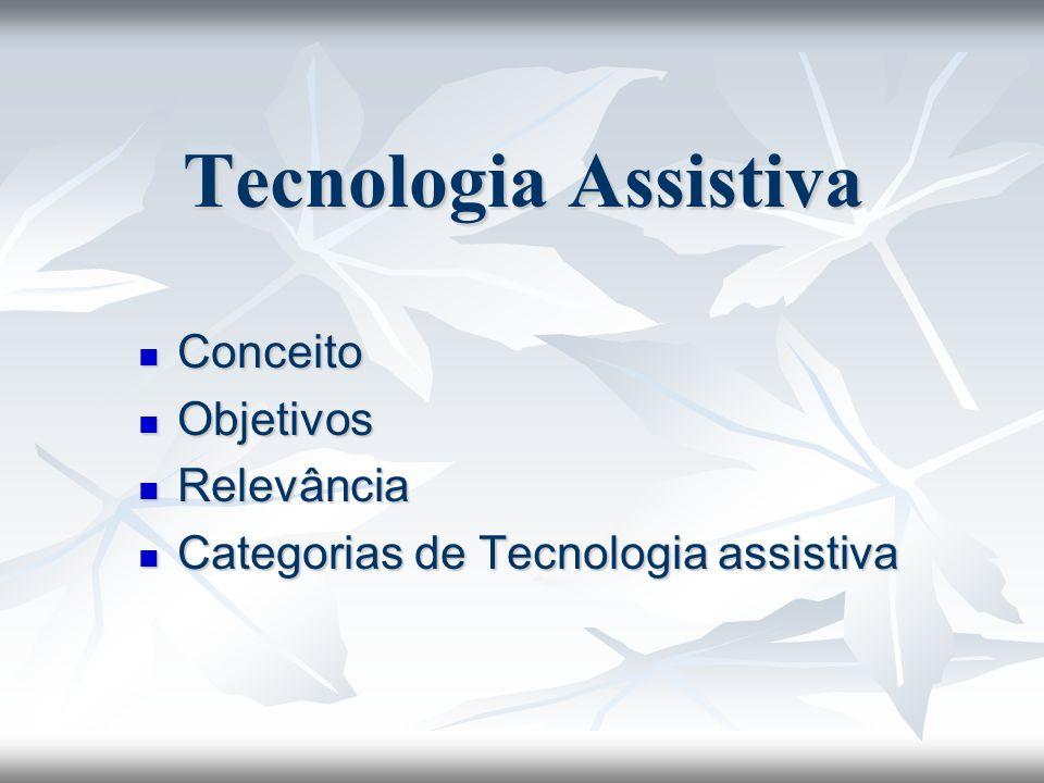 Tecnologia Assistiva Conceito Conceito Objetivos Objetivos Relevância Relevância Categorias de Tecnologia assistiva Categorias de Tecnologia assistiva