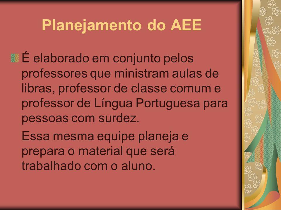 Planejamento do AEE É elaborado em conjunto pelos professores que ministram aulas de libras, professor de classe comum e professor de Língua Portugues