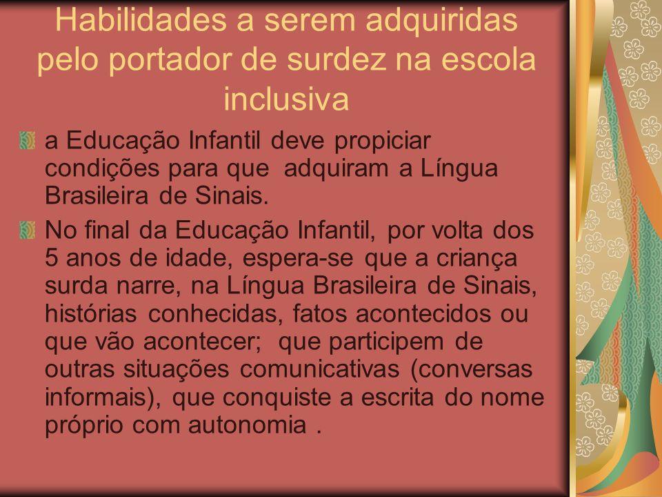 Habilidades a serem adquiridas pelo portador de surdez na escola inclusiva a Educação Infantil deve propiciar condições para que adquiram a Língua Bra