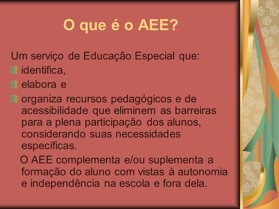 O que é o AEE? Um serviço de Educação Especial que: identifica, elabora e organiza recursos pedagógicos e de acessibilidade que eliminem as barreiras