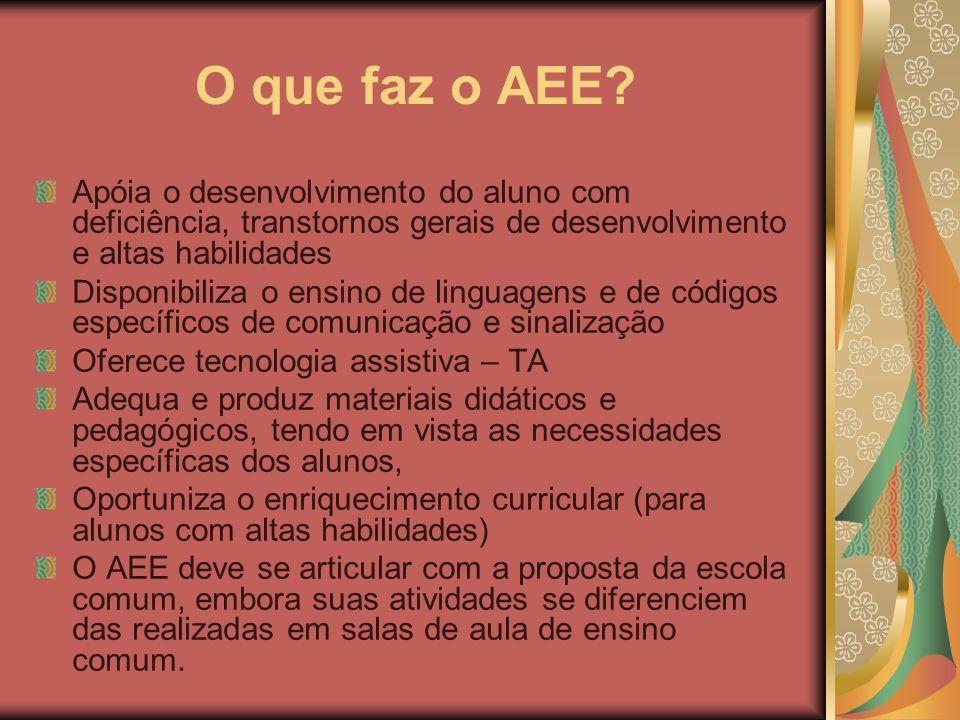 O que faz o AEE? Apóia o desenvolvimento do aluno com deficiência, transtornos gerais de desenvolvimento e altas habilidades Disponibiliza o ensino de