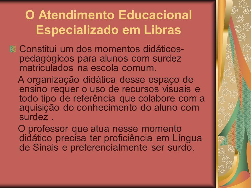 O Atendimento Educacional Especializado em Libras Constitui um dos momentos didáticos- pedagógicos para alunos com surdez matriculados na escola comum