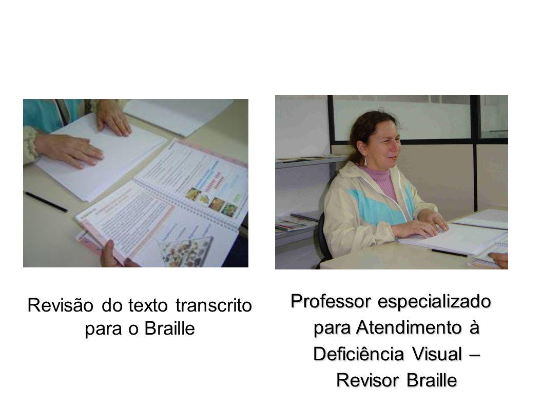 Revisão do texto transcrito para o Braille Professor especializado para Atendimento à Deficiência Visual – Revisor Braille