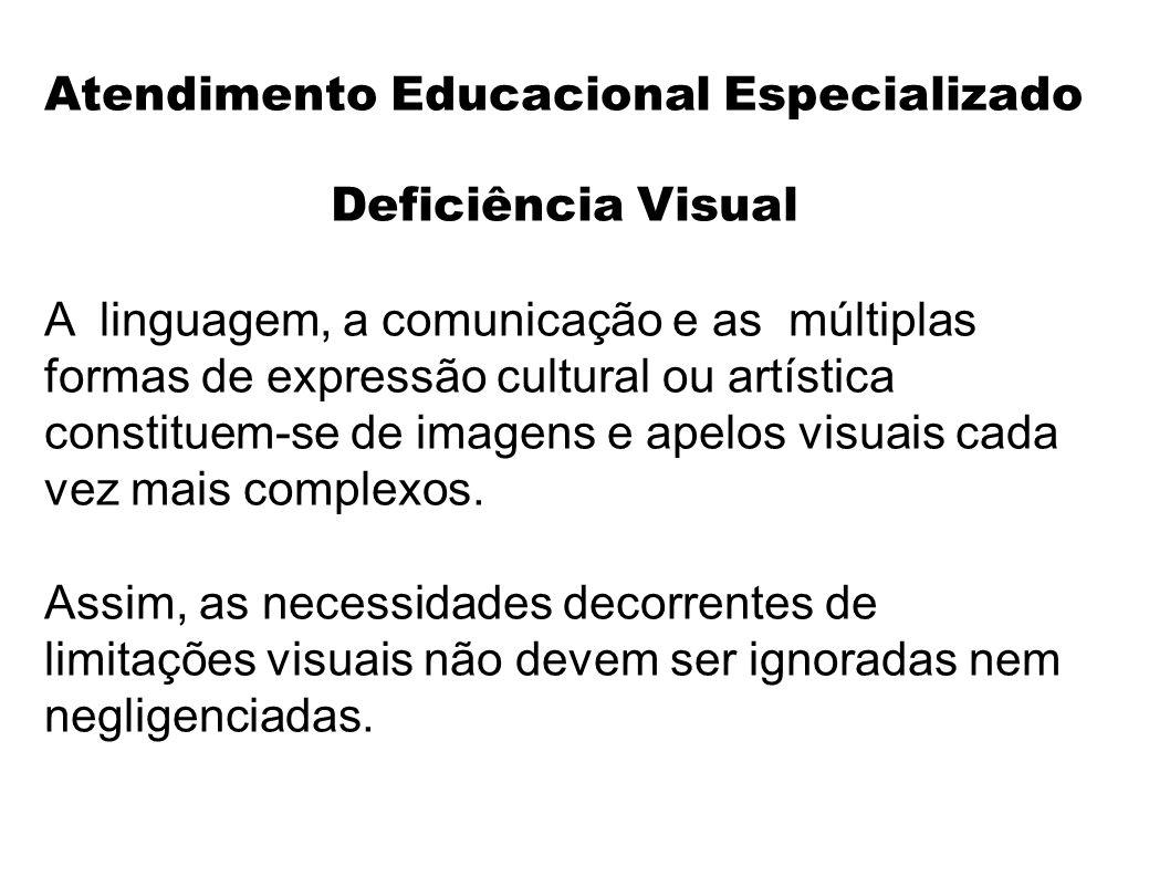 Atendimento Educacional Especializado Deficiência Visual A linguagem, a comunicação e as múltiplas formas de expressão cultural ou artística constituem-se de imagens e apelos visuais cada vez mais complexos.