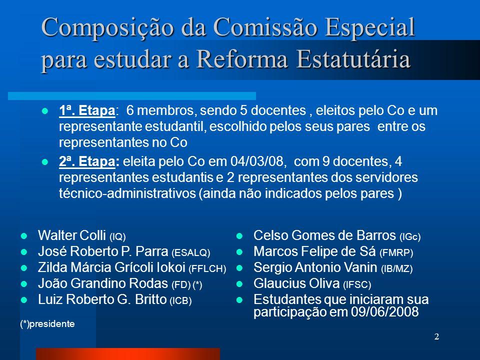 2 Composição da Comissão Especial para estudar a Reforma Estatutária 1ª. Etapa: 6 membros, sendo 5 docentes, eleitos pelo Co e um representante estuda