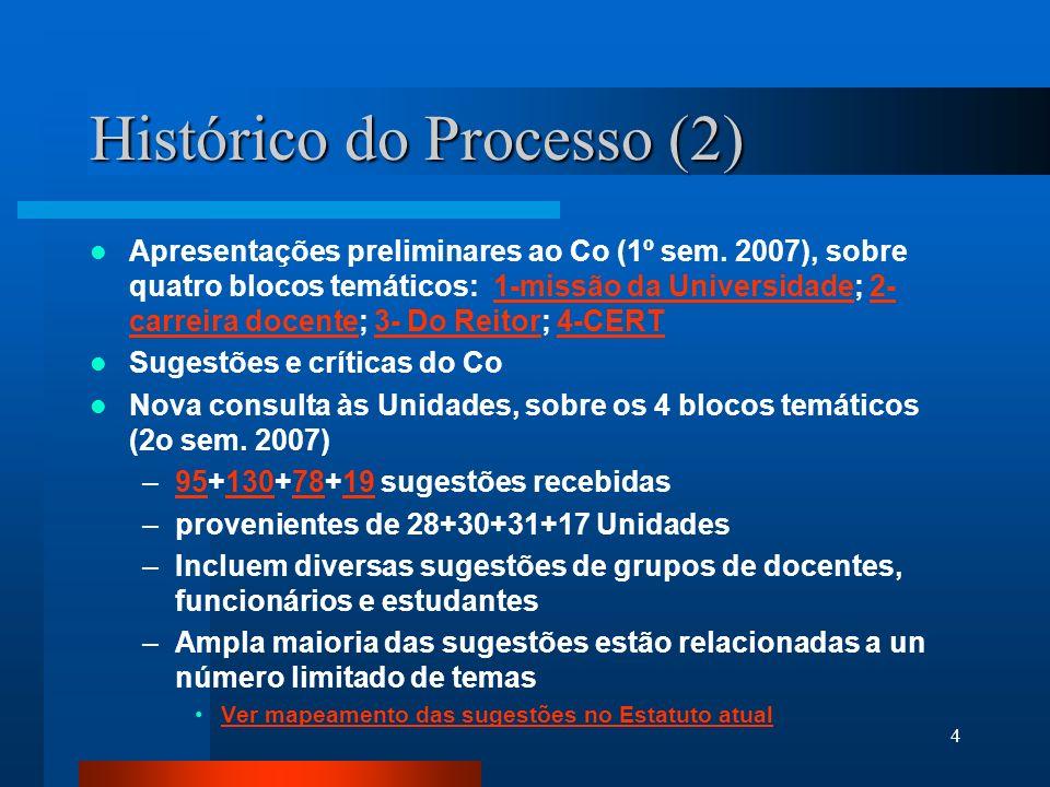 4 Histórico do Processo (2) Apresentações preliminares ao Co (1º sem. 2007), sobre quatro blocos temáticos: 1-missão da Universidade; 2- carreira doce
