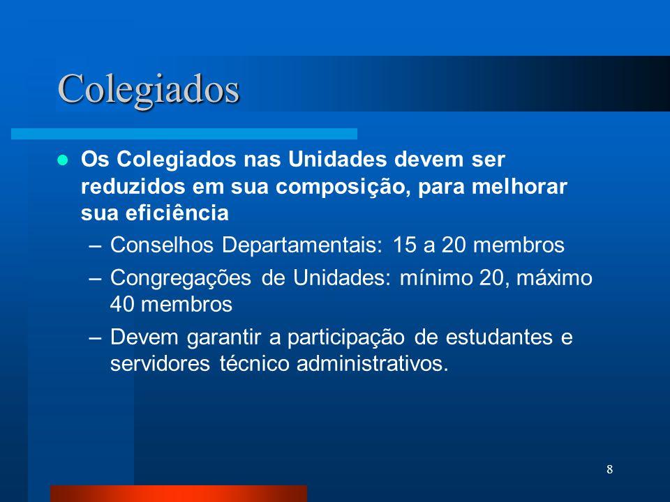 8 Colegiados Os Colegiados nas Unidades devem ser reduzidos em sua composição, para melhorar sua eficiência –Conselhos Departamentais: 15 a 20 membros