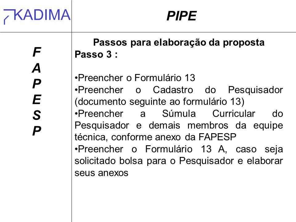 PIPE FAPESPFAPESP Passos para elaboração da proposta Passo 3 : Preencher o Formulário 13 Preencher o Cadastro do Pesquisador (documento seguinte ao fo