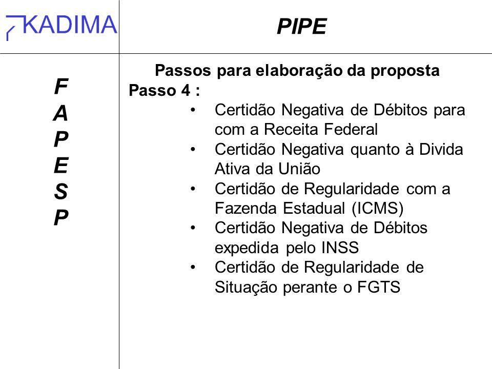 PIPE FAPESPFAPESP Passos para elaboração da proposta Passo 4 : Certidão Negativa de Débitos para com a Receita Federal Certidão Negativa quanto à Divi
