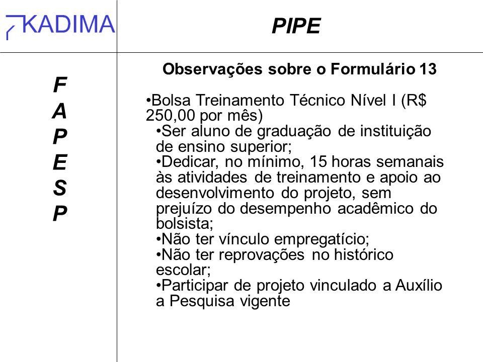 PIPE FAPESPFAPESP Observações sobre o Formulário 13 Bolsa Treinamento Técnico Nível I (R$ 250,00 por mês) Ser aluno de graduação de instituição de ens