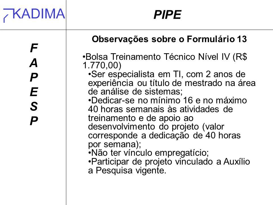 PIPE FAPESPFAPESP Observações sobre o Formulário 13 Bolsa Treinamento Técnico Nível IV (R$ 1.770,00) Ser especialista em TI, com 2 anos de experiência