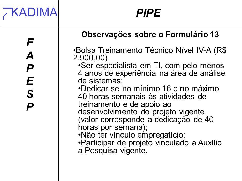 PIPE FAPESPFAPESP Observações sobre o Formulário 13 Bolsa Treinamento Técnico Nível IV-A (R$ 2.900,00) Ser especialista em TI, com pelo menos 4 anos d