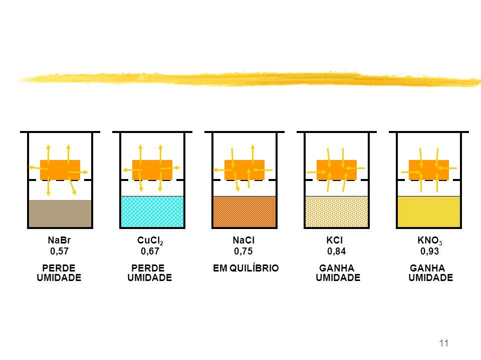 10 Soluções Salinas SOLUÇÃO SATURADAUR a 23 o C Cloreto de Lítio12,0 Acetato de Potássio22,7 Cloreto de Magnésio33,2 Nitrito de Potássio48,1 Nitrito d