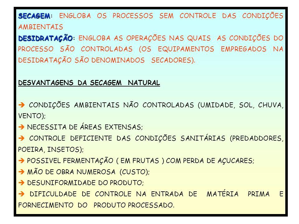 SECAGEM: SECAGEM: ENGLOBA OS PROCESSOS SEM CONTROLE DAS CONDIÇÕES AMBIENTAIS DESIDRATAÇÃO DESIDRATAÇÃO: ENGLOBA AS OPERAÇÕES NAS QUAIS AS CONDIÇÕES DO PROCESSO SÃO CONTROLADAS (OS EQUIPAMENTOS EMPREGADOS NA DESIDRATAÇÃO SÃO DENOMINADOS SECADORES).